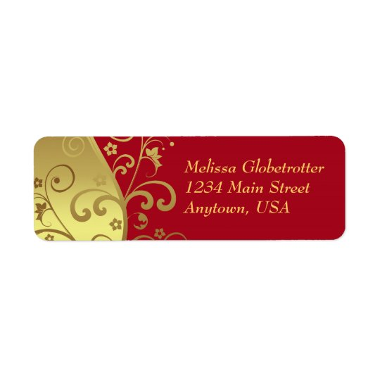 Address Labels--Red & Gold Swirls Return Address Label