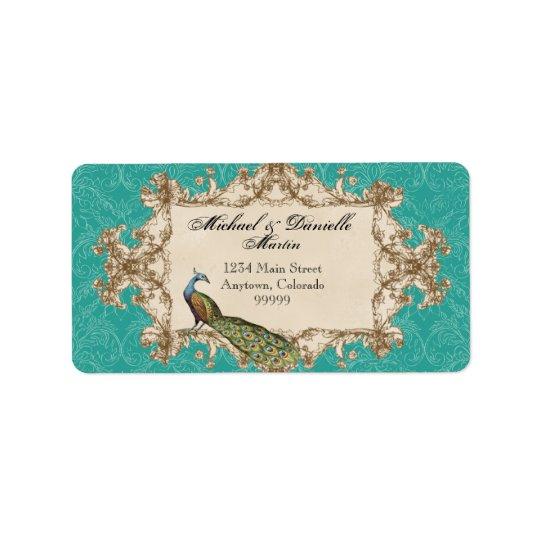 Address Labels - Teal Vintage Peacock & Etchings