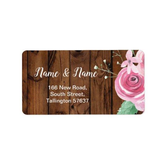 Address Labels Wood Flower Floral Pink Roses