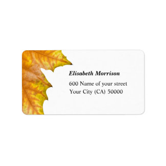 Address One yellow and gold maple leaf Address Label