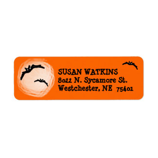Address Return Label - Halloween Bats and Moon Return Address Label