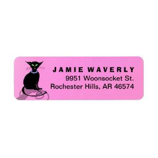 Address Return Label - Halloween Black Cat - Pink Return Address Label