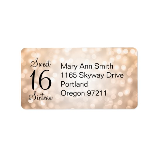 Address Sweet 16 Birthday Copper Glitter Lights Label