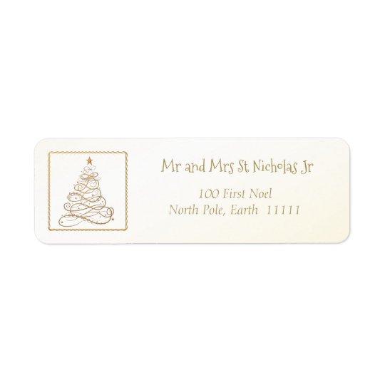 Address Template Golden Filigree Christmas Tree Return Address Label
