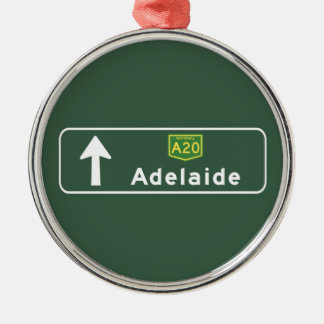 Adelaide, Australia Road Sign Silver-Colored Round Decoration