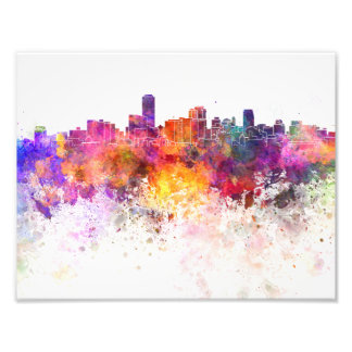 Adelaide skyline in watercolor background photo print