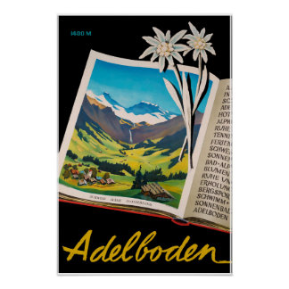 Adelboden, Switzerland, Ski travel Poster