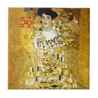 Adele Bloch-Bauer I by Gustav Klimt Art Nouveau Small Square Tile