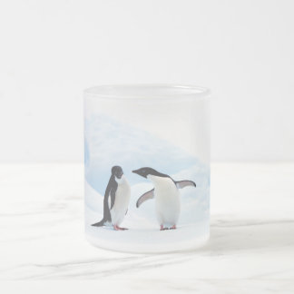 Adelie Penguins Frosted Glass Coffee Mug