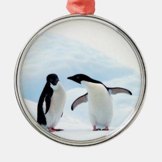 Adelie Penguins Metal Ornament
