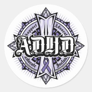 ADHD Celtic Cross Classic Round Sticker