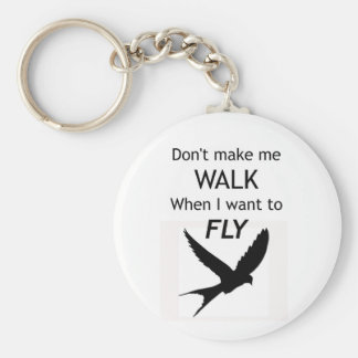 ADHD Keyring -  I want to FLY Motivational Inspira Basic Round Button Key Ring