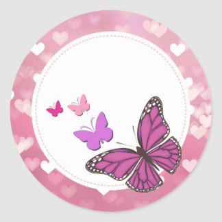 Adhesive Butterflies roses Classic Round Sticker