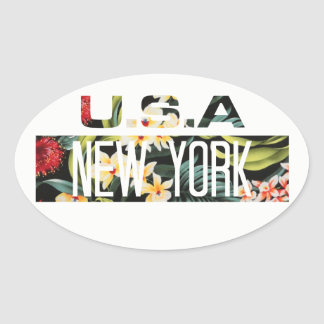 ADHESIVE - FLORAL NEW YORK OVAL STICKER