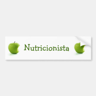 Adhesive Green Apple Nutritionist Bumper Sticker