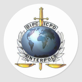 Adhesive Interpol Round Sticker