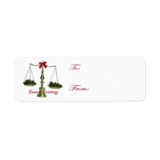 Adhesive Legal Scales Holiday Gift Tags Return Address Label
