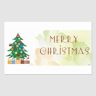 Adhesive of Christmas Rectangular Sticker