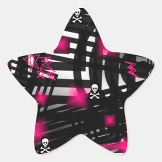 "Adhesive ""Skulls purple black abstract "" Star Sticker"