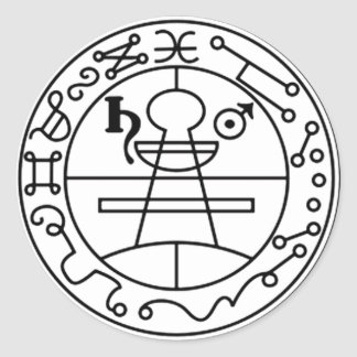 Adhesive Stamp of Salomão Goétia Classic Round Sticker