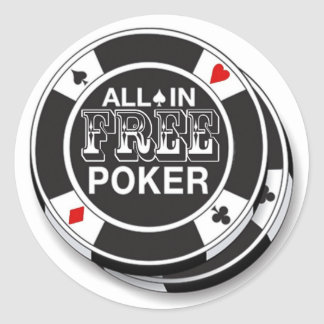 Adhesives Free Poker Classic Round Sticker