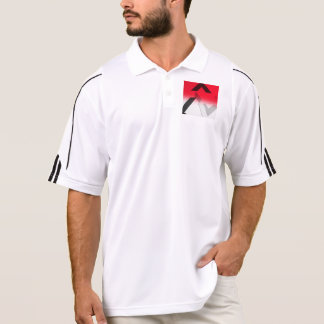 ADIDAS RED, BLACK AND WHITE ABSTRACT GOLF SHIRT