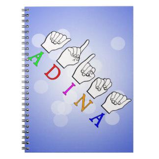 ADINA FINGERSPELLED ASL NAME SIGN SPIRAL NOTEBOOK