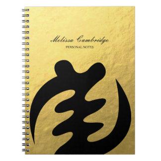 Adinkra Symbol of For God Faux Gold Foil Notebooks