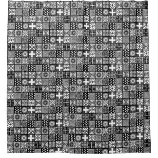 Adire Pattern - Black and White Shower Curtain