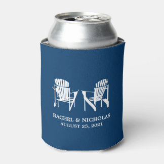 Adirondack Beach Chairs Dark Blue | Wedding Can Cooler