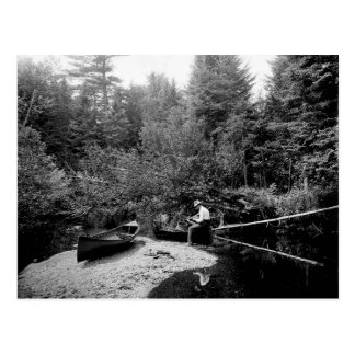 Adirondack Canoe Fishing Postcard