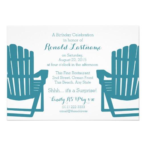 Adirondack Chairs Beach Birthday Personalized Invite