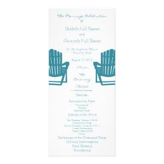 Adirondack Chairs Beach Wedding Program Rack Card Design