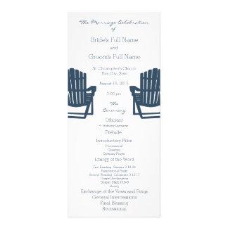 Adirondack Chairs Blue Beach Wedding Program Customized Rack Card