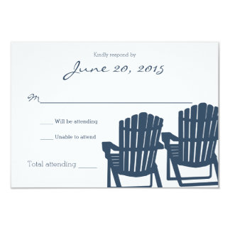 Adirondack Chairs Blue Beach Wedding Response Card 9 Cm X 13 Cm Invitation Card