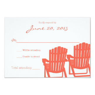 "Adirondack Chairs Cora Beach Wedding Response Card 3.5"" X 5"" Invitation Card"