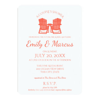 Adirondack Chairs Coral Couple's Shower Card
