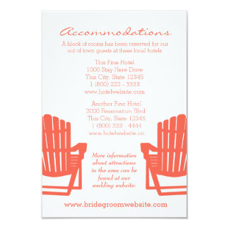 Adirondack Chairs Coral Intinerary 9 Cm X 13 Cm Invitation Card