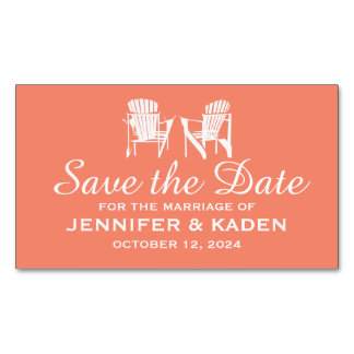 Adirondack Chairs CORAL | Save the Date Magnetic Business Cards