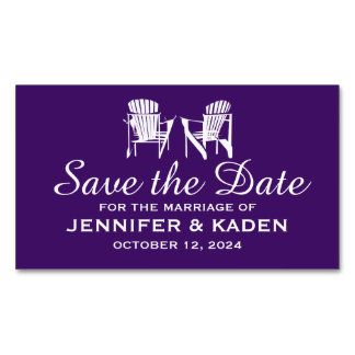 Adirondack Chairs EGGPLANT PURPLE | Save the Date Magnetic Business Cards