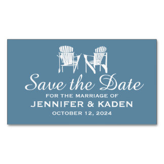 Adirondack Chairs GRAY BLUE | Save the Date Magnetic Business Cards