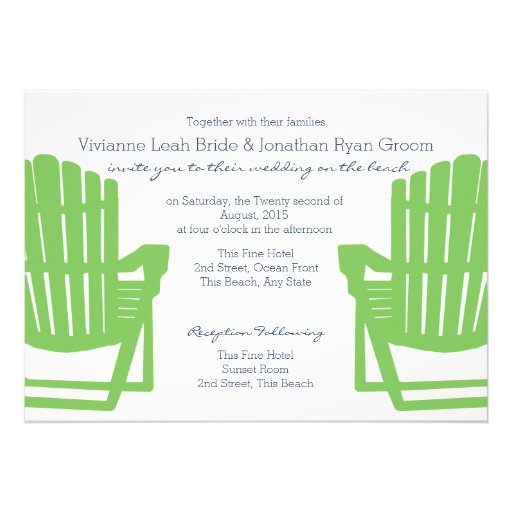 Adirondack Chairs Lime and Navy Beach Wedding Custom Announcements