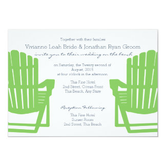 "Adirondack Chairs Lime and Navy Beach Wedding 5"" X 7"" Invitation Card"