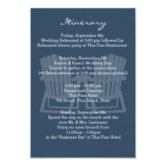 Adirondack Chairs Navy Blue Intinerary 9 Cm X 13 Cm Invitation Card