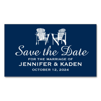 Adirondack Chairs Navy Blue | Save the Date Magnetic Business Cards