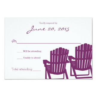 Adirondack Chairs Plum Beach Wedding Response Card 9 Cm X 13 Cm Invitation Card