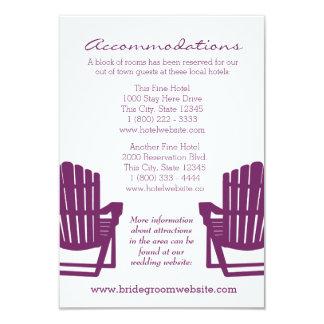 "Adirondack Chairs Plum Intinerary 3.5"" X 5"" Invitation Card"