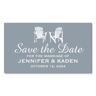 Adirondack Chairs SILVER GRAY | Save the Date Magnetic Business Cards