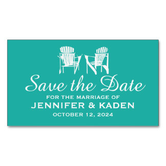 Adirondack Chairs TEAL | Save the Date Magnetic Business Cards