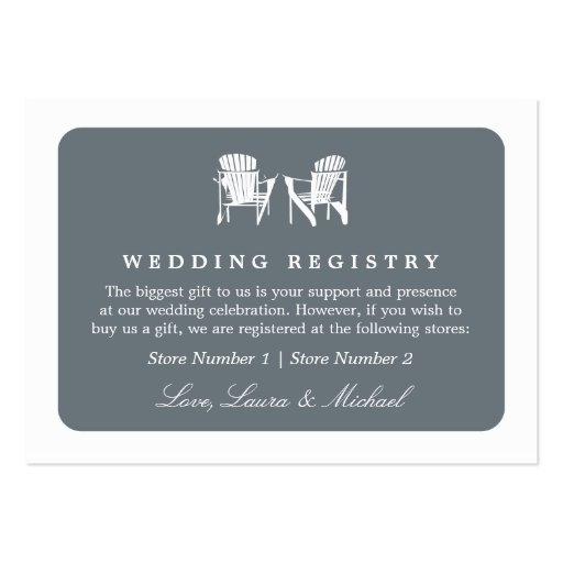 Adirondack Chairs   Wedding Bridal Gift Registry Business Card Template
